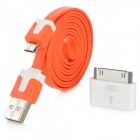 Micro USB 5-Pin Data / Charging Cable + 30-Pin Adapter for GALAXY S4 / i9500 + More - Orange