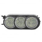 T107 Car Digital Thermometer w/ Clock / Calendar / Car Charger - Black (1 x CR2032)