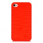 Stylish Wave Style Protective Plastic Back Case for Iphone 4 / Iphone 4S - Translucent Red