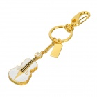 Crystal Violin Style USB 2.0 Flash Drive - Golden + White (4GB)