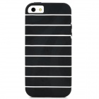 TEMEI Horizontal Stripe Style Protective TPU Back Case for Iphone 5 - Black + White