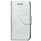 Protective Tree Bark Pattern Protective PU Leather Flip-Open Case for Iphone 5 - Silver