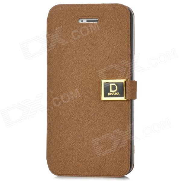 Protective PU Leather + ABS Flip-Open Case for Iphone 5 - Coffee protective pu leather pouch bag for iphone 5 4 4s coffee