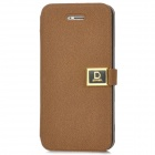 Protective PU Leather + ABS Flip-Open Case for Iphone 5 - Coffee
