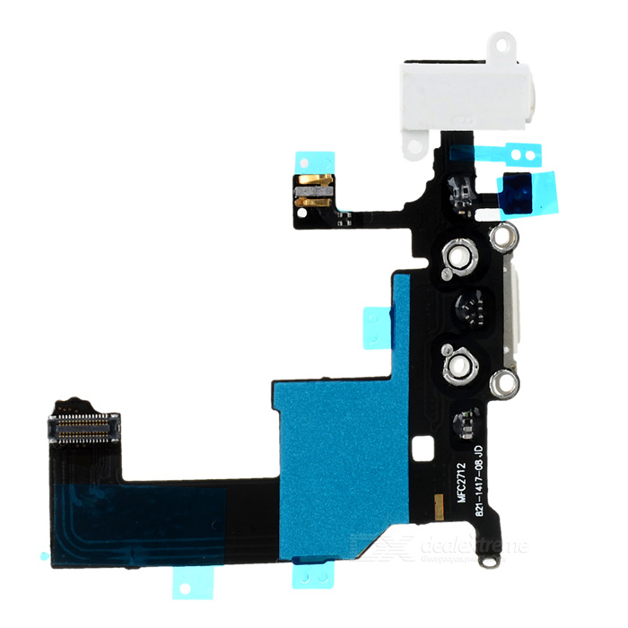 Replacement Charging Connector Flex Cable for Iphone 5 - Black + White replacement charging tail plug connector flex cable for iphone 6 4 7 black blue multi colored