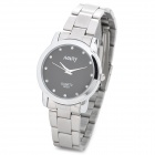 NARY 6003 Mineral Glass Dial Stainless Steel Band Couple Women's Quartz Wristwatch - Black + Silver