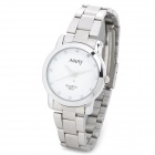 NARY 6003 Mineral Glass Dial Stainless Steel Band Couple Women's Quartz Wristwatch - White + Silver