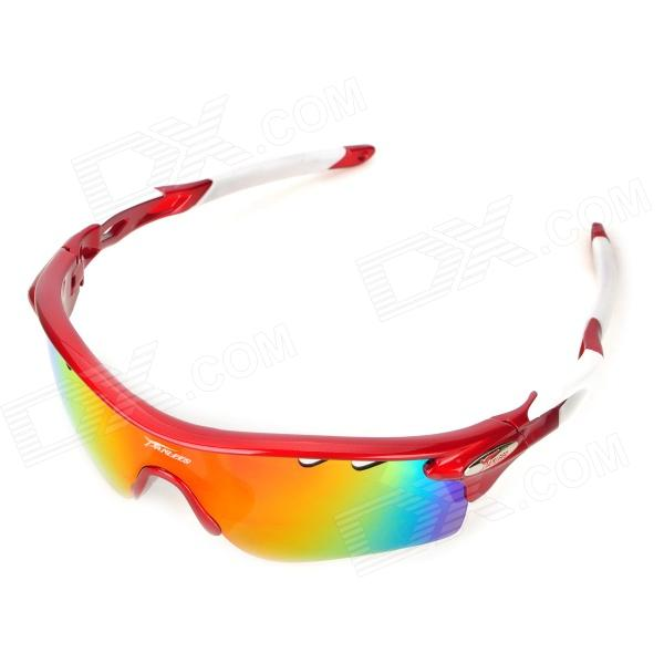 Panlees PO565 Cool UV400 Protection TR90 Frame Outdoor Sport Goggles w/ Replacement Lens - Red