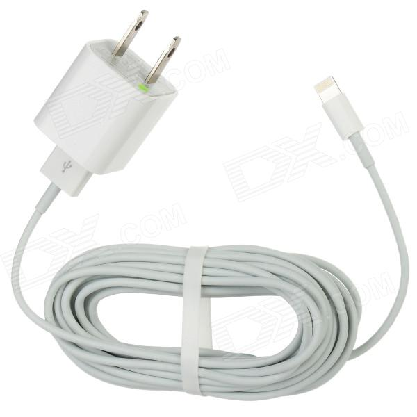 USB Male to 8-Pin Lightning Data Cable + US Plug Power Adapter for Iphone 5 / Ipad MINI / Ipad 4
