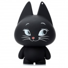 Cute Smiling Cat Shape USB Speaker w/ 3.5mm Audio Male to Male Cable - Black