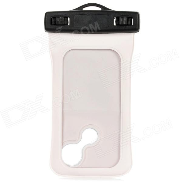 Universal Waterproof Protective PVC Bag w/ Armband / Strap for Iphone 4 / 4S / 5 - White + Black universal waterproof bag protective mobile phone bag w arm band strap orange black