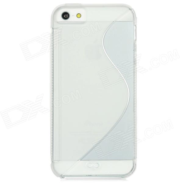 S Shaped Protective Soft TPU Back Cover Case for Iphone 5 - Transparent + Translucent White protective silicone case for nds lite translucent white