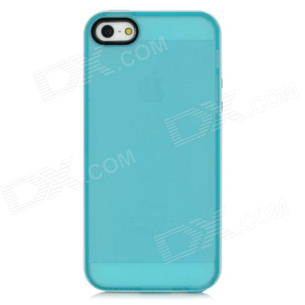 Stylish Protective Silicone + TPU Back Case for Iphone 5 - Blue + White protective matte silicone case for iphone 5 5s dark blue white