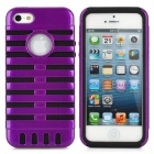 Protective Silicone + PC Case for iPhone 5 - Black + Purple