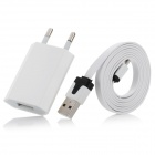 USB Male to Micro USB Male Charging & Data Cable + EU Plug Adapter for Samsung / HTC - White