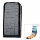 Alligator Pattern Protective PU Leather Case for Samsung Galaxy S3 i9300 - Black