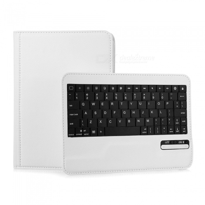 Stylish Bluetooth V3.0 59-Key Keyboard w/ 360 Degree Rotating PU Leather Case for Ipad MINI - White
