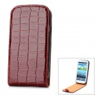 Crocodile Grain Pattern Protective PU Leather Top Flip-Open Case for Samsung i9300 - Red Brown