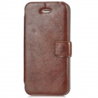YuBo Wrinkle Protective PU Leather Cover ABS Back Case for Iphone 5 - Black + Brown