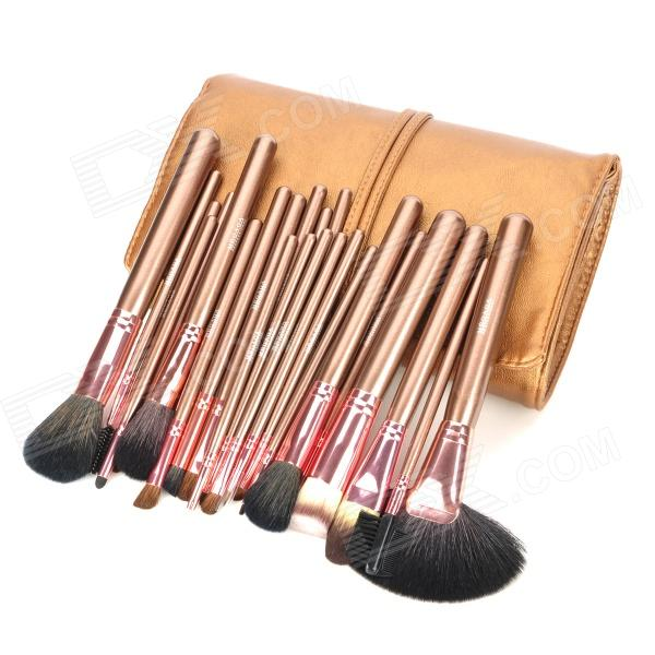 MEGAGA Professional 24-in-1 Wool Cosmetic Makeup Brush Set w/ Bag - Coffee + Brown tube professional 7 in 1 cosmetic makeup brush set w pu case purple