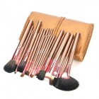 MEGAGA Professional 24-in-1 Wool Cosmetic Makeup Brush Set w/ Bag - Coffee + Brown