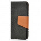 Stylish Diamond Pattern Protective PU Leather Case for iPhone 5 - Black + Brown