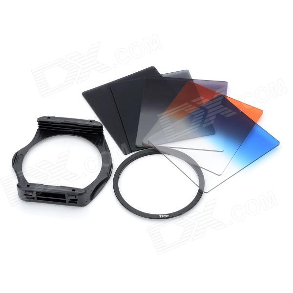 S1306 8-in-1 Gradual ABS Lens Filters + Mount + Ring Set for 77mm Lens Camera - Black szsy02 universal camera gradual lens filters nd2 nd4 sunset filter set black 6 pcs
