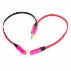 3.5mm Plug to Dual 3.5mm Jacks Audio Splitter Cable for Iphone / Ipod - Red (20cm)