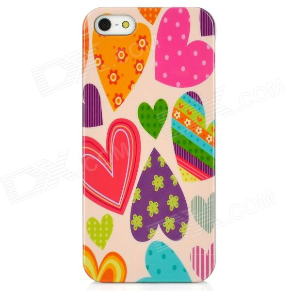 Love Heart Style Protective Plastic Back Case for Iphone 5 - Multicolor protective heart shape rhinestone decoration back case for iphone 5 brown