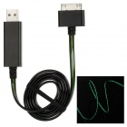 USB 2.0 Male to Apple 30 Pin Male Data + Charging Cable w/ Flashing LED Light - Black (80cm)