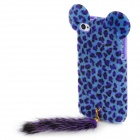 Leopard Print Protective Back Case w/ Artificial Foxtail for iPhone 4 / 4S - Purple + Blue