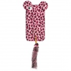 Leopard Print Protective Back Case w/ Artificial Foxtail for Iphone 4 / 4S - Pink