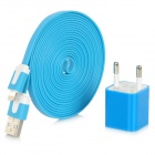 EU Plug Power Adapter + Lightning 8-Pin Male to USB Male Data Cable Set for iPhone 5 - Blue