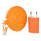 AC Power Charger Adapter + Flat Lightning 8-Pin Cable for iPhone 5 / iPod Touch 5 / Nano 7 - Orange