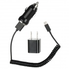 US Plug AC Charger + USB Car Charger + USB Male to Lightning 8-Pin Male Data Cable Set - Black