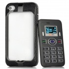 "2-in-1 0.8"" Screen GSM Dual Band Phone w/ Bluetooth / FM + Genuine Leather Case for Iphone 4 / 4S"