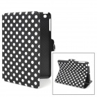 Polka Dot Pattern Protective PU Leather Case for iPad Mini - Black + White