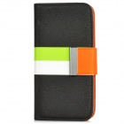 Protective PU Leather Cover PC Back Case Stand w/ Card Slots for Iphone 5 - Black + Orange