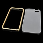 Protective Frosted PC Back Cover Case + Bumper Frame Set for Iphone 5 - Translucent + Golden