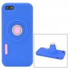 Retractable Camera Style Protective Silicone Back Case for iPhone 5 - Blue