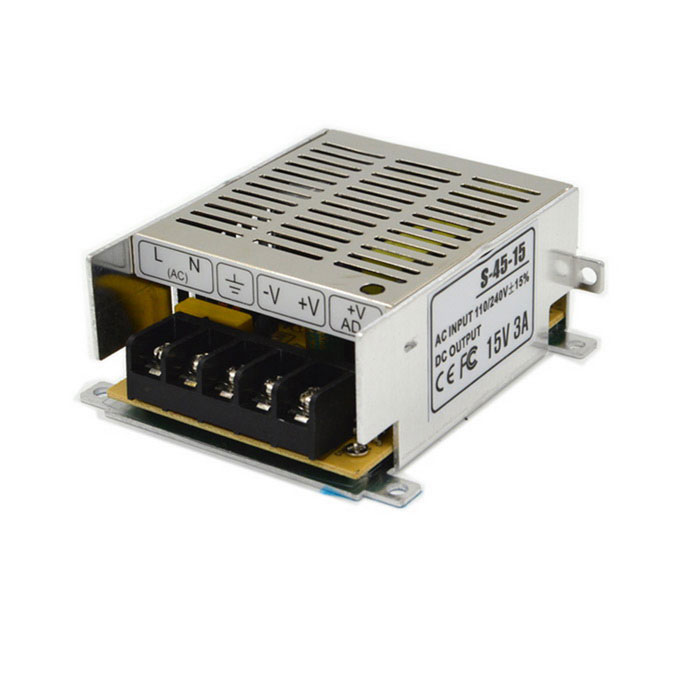 S-15-15 15V 3A Power Supply for Surveillance Camera / LED Lamp / Digital Product - Silver mean well hrp 200 15 15v 13 4a meanwell hrp 200 15v 201w single output with pfc function power supply