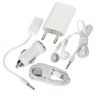 5-in-1 EU Plug AC Charger + Car Charger + 3.5mm Earphone + Lightning 8-pin Data Cable Set - White
