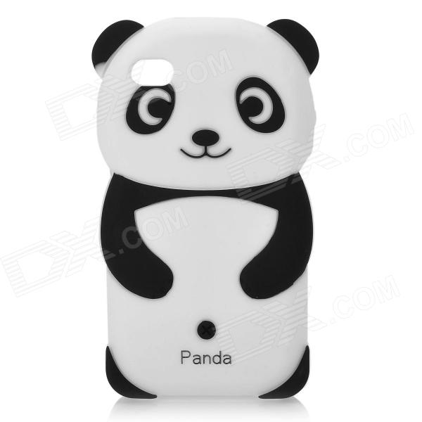 Cute Panda Style Silicone Back Case for Iphone 4 / 4S- White + Black 3d panda pattern silicone back case for iphone 4 4s red white black