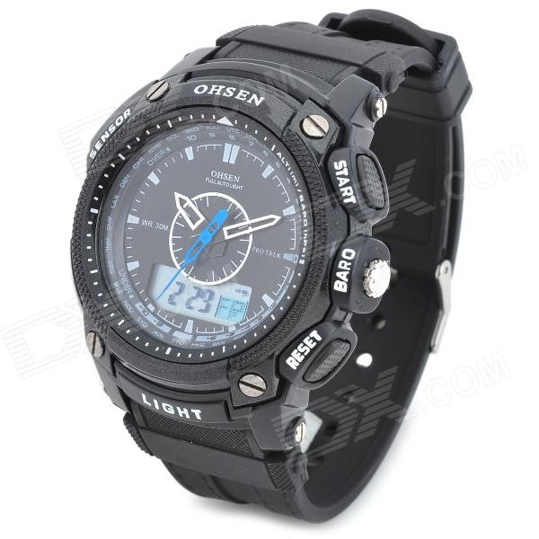 OHSEN AD1209-B Men's Sport Analog + Digital Quartz Wrist Watch - Black (1 x SR626)
