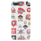 Stylish Skulls Pattern Protective Plastic Back Case for Iphone 5 - White + Red + Yellow