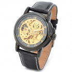 OUYAWEI 1039-BG Men's Casual Skeleton Auto Mechanical Wrist Watch - Black + Golden