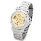 OUYAWEI 11039-2 Men's Fashionable Skeleton Auto Mechanical Wrist Watch - Silver + Golden