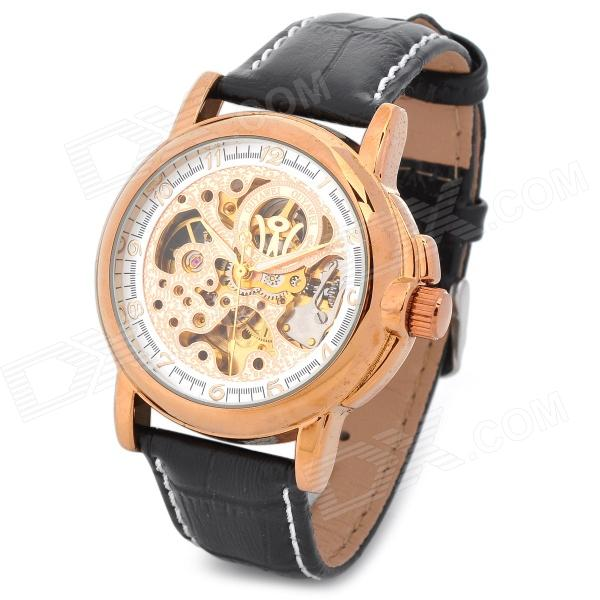 OUYAWEI 1039-G Men's Casual Skeleton Auto Mechanical Wrist Watch - Black + Golden