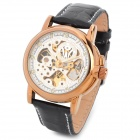 OUYAWEI 1039-GW Men's Fashionable Skeleton Auto Mechanical Wrist Watch - Black + Golden