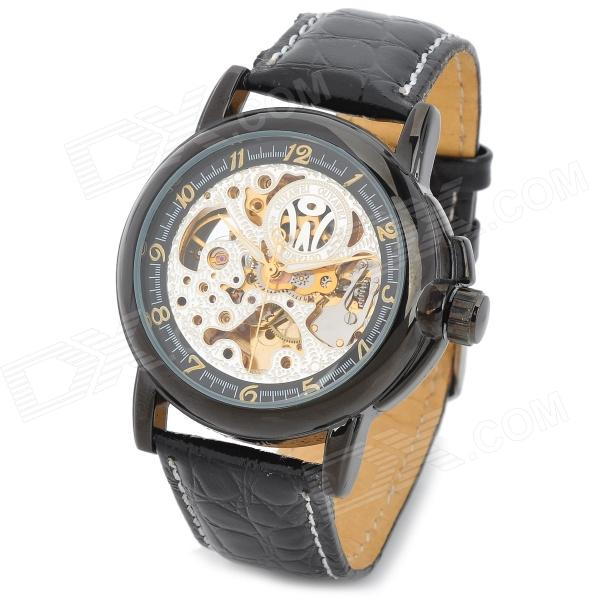 OUYAWEI 1039-BW Men's Fashionable Skeleton Auto Mechanical Wrist Watch - Black + Silver